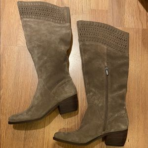 Lucky Brand Gray Suede Perforated Knee high Boots